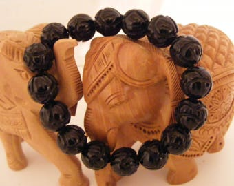 Bracelet onyx Lotus Blossoms 12 mm natural stone beads