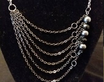Gunmetal chain necklace and earring set