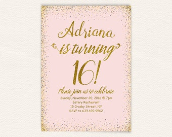 Gold glitter, 16th birthday, sweet 16, birthday invitation, sweet 16 party, sweet 16 invitation, glitter, pink and gold, sweet sixteen 30