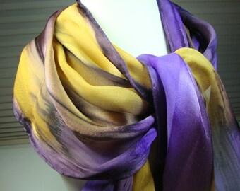 Scarf, Silk, Plum Gold Orchid Purple Handpainted Silk Scarf