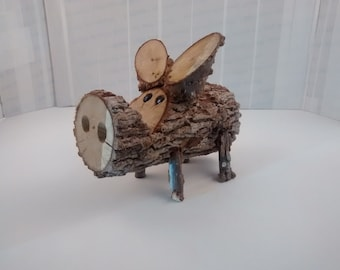 Wooden Folk Art Pig #1