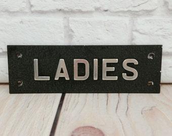 Vintage Ladies Room Door Sign Metal