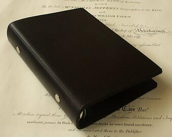 Personal Size Black Leather 6 Ring Binder, Filofax Compatible Organizer, Travel Planner, Black Leather, Ringbinder, Free Personalisation.