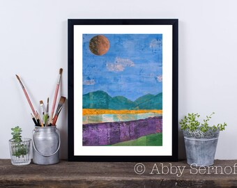 Abstract Landscape, Contemporary Art, Giclee Print, Nature Inspired, Colorful, Mixed Media Collage, Mountains, Mountains Print