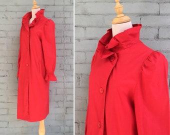 1980s red Spring coat / 80s trench coat / 1980s rain coat / 80s swing coat