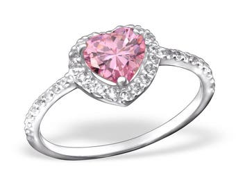Heart Shaped Pink CZ Halo Promise Ring 925 Sterling Silver - Size 7 - RG7626PK