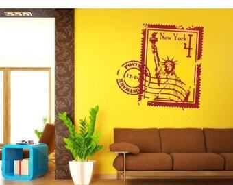20% OFF Memorial Day Sale New York Stamp wall decal, sticker, mural, vinyl wall art