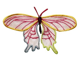 ID 2019 Butterfly With Lace Wing Patch Bug Insect Embroidered Iron On Applique