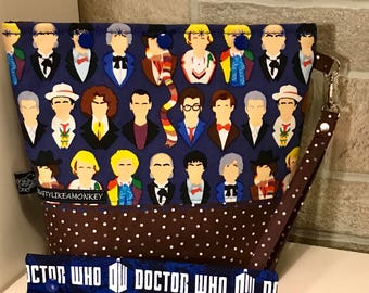 Dr Who inspired snap top project bag with flat bottom and knitting needle cozy - ready to ship