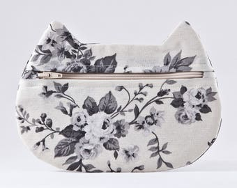 White Floral Makeup Bag, Bridal Gift, Cat Cosmetic Bag, Pills Case, Pencil Case, Cat Lover Gift, Zipper Bag, Toiletries Bag, White Cat Bag