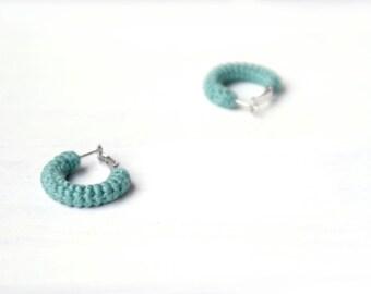 Green Hoop Earrings, Jade Green Hoops Circle Earrings, Small Crochet Hoops, 1 inch Hoops Cotton Earrings
