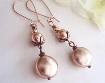Rose Gold Pearl Earrings, Bridal Earrings, Peach Blush Swarvoski Pearls, Vintage Style, Bridesmaid Earrings