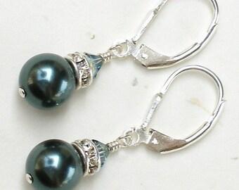 Pearl Earrings, Tahitian Blue, Deep Teal, Sterling Silver, Rhinestone, Bridesmaid, Bridal Party, Handmade Jewelry, Fall Fashion Wedding