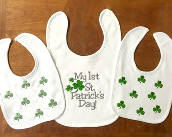 Irish- St. Patrick's Day Bib- Baby Bib- Embroidered Bib- New Baby Gift- Baby Shower Gift- Drool Bib- Girl Bib- Boy Bib- Personalized Bib