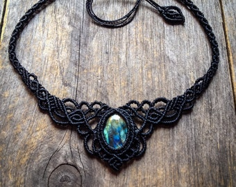 Macrame necklace Labradorite boho jewelry tiara bohemian by Creations Mariposa L7