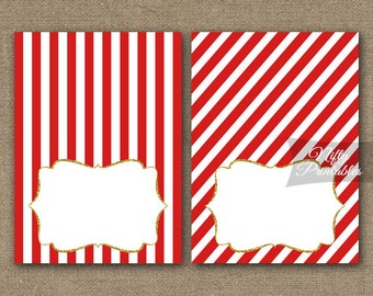 Red Food Tents - Red Place Cards - Gold & Red Party Decorations - Printable Red White Stripes Buffet Cards - RGL