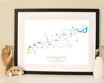 Boston Marathon Route Map Art Print (Standard & Personalised available)