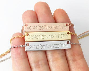 Custom Coordinates Necklaces Custom Name Necklace Gold Coordinate Jewelry Monogram Name Necklace GPS Coordinates Necklace - 4N