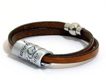 Husband Gift, Secret Message, Wife Gift Ideas, Men's Spiral leather bracelet Brown - leather &  aluminum Hand stamped, engraved bracelet