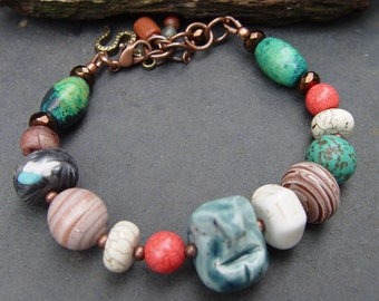 This Old Man - Stoneware, Polymer and Gemstone Bracelet