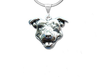 Sterling Silver Happy Pit Bull Pendant