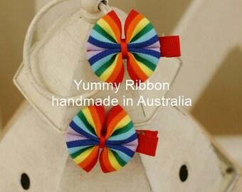 A pair little girls hair accessories, baby hair clip, handmade hair bow for kids, hair bow for girl,rainbow ribbon hair clip, kids hair bow
