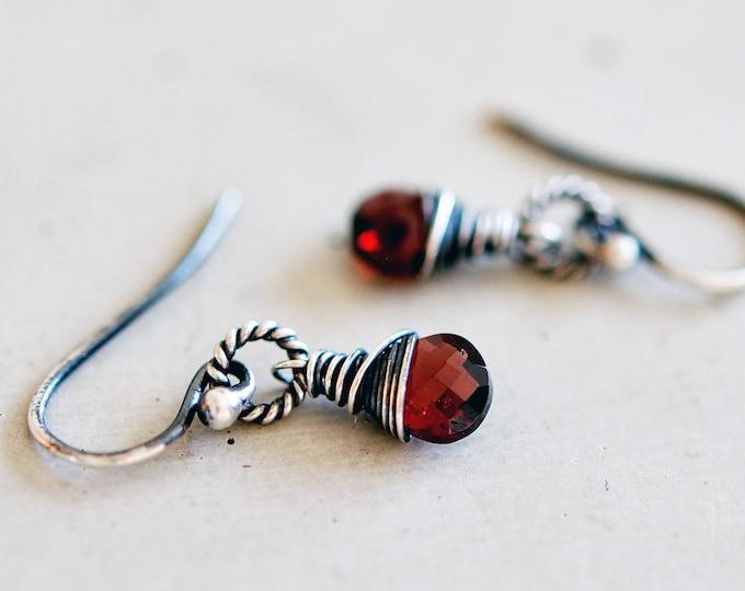Rubelite Garnet, Garnet Earrings, Drop Earrings, January Birthstone, Wire Wrapped, Sterling Silver, Birthstone Earrings,