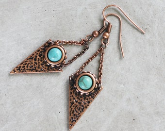 Copper Chain and Turquoise Earrings - Copper Earrings, etched earrings, boho earrings, bohemian earrings