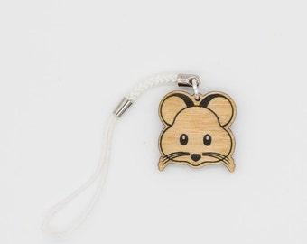 Hamster Emoji Charm - Hamster Emoji Carved Wood Charm - Hamster Emoji
