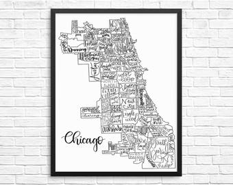 Hand Lettered Chicago Neighborhood Map - Home Decor | Wall Art | Art Print | Map