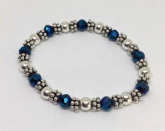 Swarovski Crystal Bracelet, Artisan Beaded Bracelet, Irridescent Crystal Bracelet, Sterling Silver Bracelet, Special Occasion Jewelry