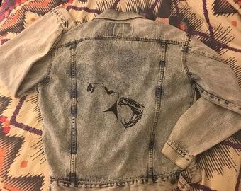 Bitten Handpainted Acid Wash Vintage Denim Jacket