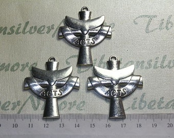 6 pcs per pack 45x38mm ACTS Cross Pendant Antique Silver Lead Free Pewter