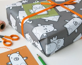 Finger Puppet Interactive Wrapping Paper Set - Children's Activity Gift Wrap - Colour In Wrapping Paper - Easter Paper