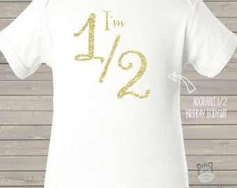 Half birthday sparkly glitter bodysuit - adorable baby shower gift - choose your glitter color