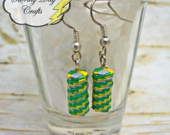 Yellow, Green and Light Blue Woven Paper Bead Earrings
