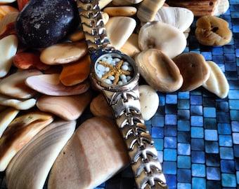 Silver Tone Blue & White Starfish  Beach Watch