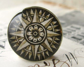 Compass points, brown, nautical direction, handmade cabochon, glass cabochon, round 22mm cabochon, flat back image, navigation