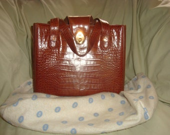 Rare Cognac Alligator Print Lladro Top Carry Satchel