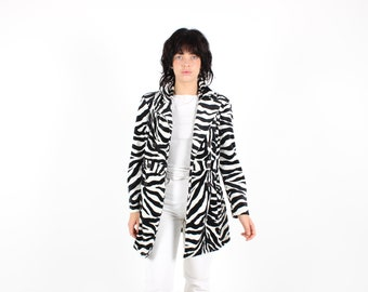 90s Y2K Plush ZEBRA Textured Graphic Animal Stripe Printed Swing Pea Coat / Swing A-Line Jacket / Trench Coat