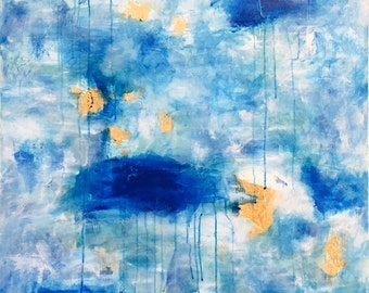 In A Dream - Large Original Acrylic Painting With Gold Leaf - 30x40x1.5
