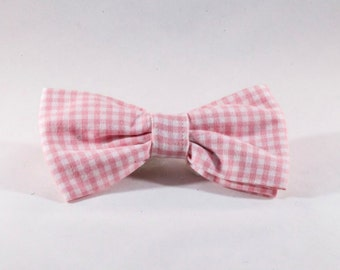 Preppy Pink Gingham Dog Bow Tie