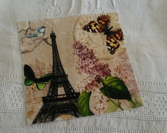 Vignette of vintage fabric / Eiffel Tower print / printing on fabric / postcard