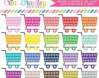 80% OFF SALE Shopping Cart Clipart, Grocery Shopping Clip Art, Planner Clip Art Graphics, Personal & Commercial Use