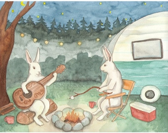 Our Camp - Fine Art Print - Rabbits and Camping Trailer