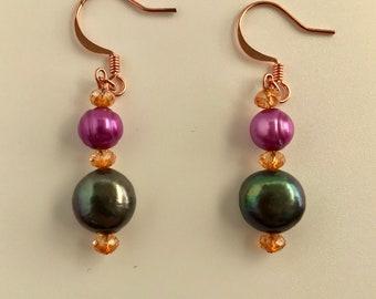 Shimmering Freshwater Pearl and Swarovski Crystal Dangle Earrings