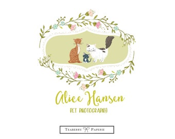 Premade Logo, Dog Logo, Wreath Logo, Floral logo, Business Logo, Puppy Logo, Pet Logo, Animal Logo,  Logos, Custom Logo, round logo