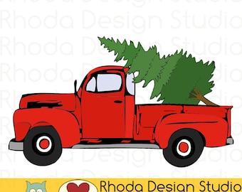 Vintage Pickup Pine Tree Truck Stamp Digital Clip Art Retro