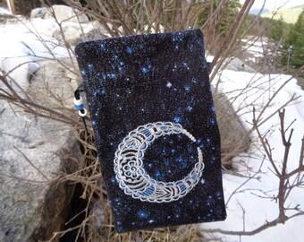 Embroidered Bohemian Moon Tarot, Rune or Magical Purpose Bag