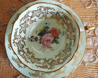 Vintage Paragon China Teacup, Paragon Bone China, By Appointment to Her Majesty the Queen,Mint Green, Gold Leaf Filigree, gift for her